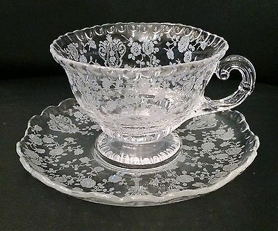 Cambridge Glass Rose Point #3500 Cup and Saucer Pairs (4)