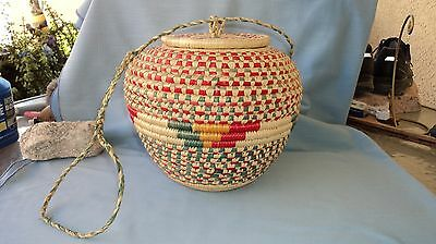 LARGE COLORFUL COILED WEAVE BASKET WITH LID & HANDLE.....(Snake Charmer Basket)