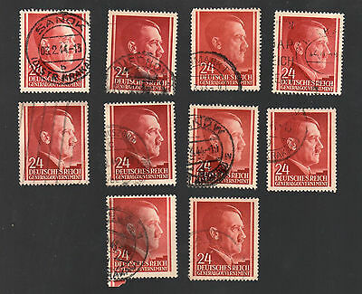 WWII Occupied Poland - Lot of 10 Stamps 24 Grosze with Hitler's Head - #22