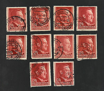 WWII Occupied Poland - Lot of 10 Stamps 24 Grosze with Hitler's Head - #25