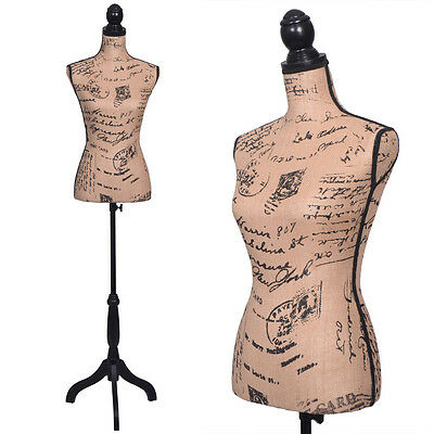 Female Mannequin W/Black Tripod Stand Torso Designer Pattern Dress Form Display