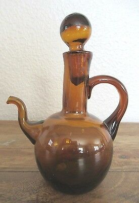"""Vintage Amber Glass Pitcher with Stopper 5.75"""""""