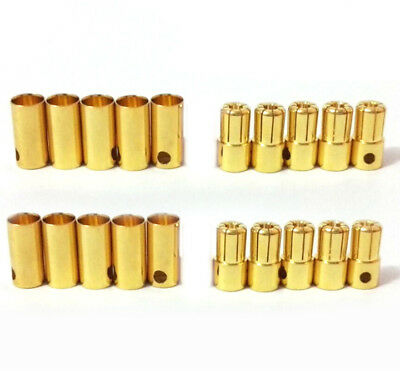 10 pairs 6.5mm gold bullet Banana connector plug for RC Lipo battery ESC