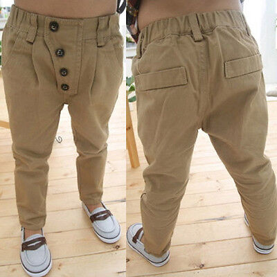1Pcs Kids Boy Casual Pants Baby Clothes Slim Fit Straight Trousers Khaki 2-7Y