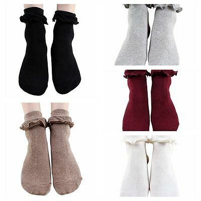 Women's Girls Ankle Retro Hollow Lace Ruffle Frilly Princess Cotton Short Socks