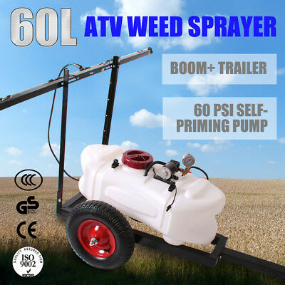 WACWAGNER 60L ATV Garden Weed Spot Sprayer Tank Trailer Cart Trolley With Boom