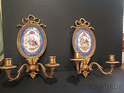 Antique Vintage French Dore Bronze Wall Sconce Pair Porcelain