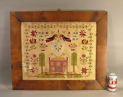 ca.1856 Antique 19thC American Primitive Embroidered Needlepoint Sampler House