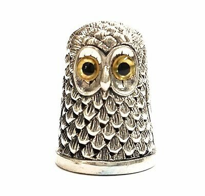 Collectable Owl Thimble 925 Sterling Silver With Glass Eyes