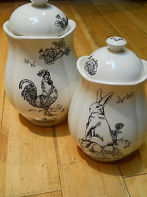 Pair of Barnyard toile Elizabeth Trostli for Andrea by Sadek, cannisters