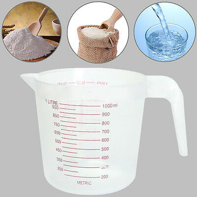 250/1000ml Transparent Handhled Plastic 4Cups Measuring Jug Cup Kitchen Tools