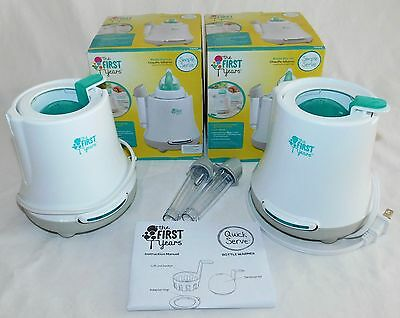 The First Years Simple Serve Bottle Warmer, White/Grey, Lot of 2 Warmers