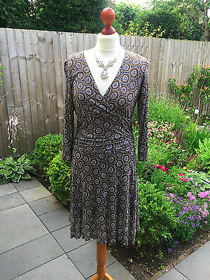 BODEN Ladies brown / white / blue print dress   / long top UK 12