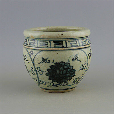 Chinese Asian Blue and White Flower Antique Porcelain Pot Decorated Old Jar #29