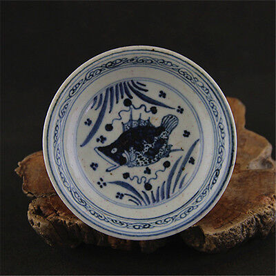 Chinese Asian Blue and White Fish Antique Porcelain Decorative Tall Bowl #7