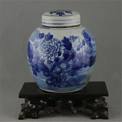 Chinese Asian Peony Flower Antique Porcelain Pot Decorated Old Jar with Lid #65