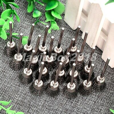 20pcs 15mm Stainless Wire Cup Brushes Polishing Wheel Grinder Power Rotary Tool