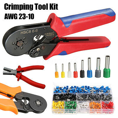 Adjustable Ferrule Crimping Tool Kit Wire Crimper w/ 800 Connector End Terminal
