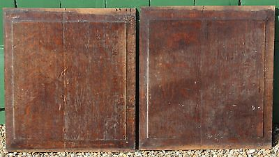 Pair of 17th CENTURY FIELDED OAK PANELS, Gothic Medieval carvings