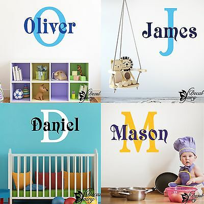 Wall Sticker Personalised Custom Name Initial Boys Girls Vinyl Decal