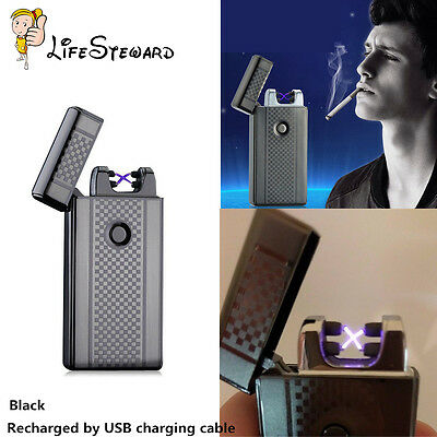 USB Electric Dual Arc Metal Flameless Torch Rechargeable Windproof Lighter New