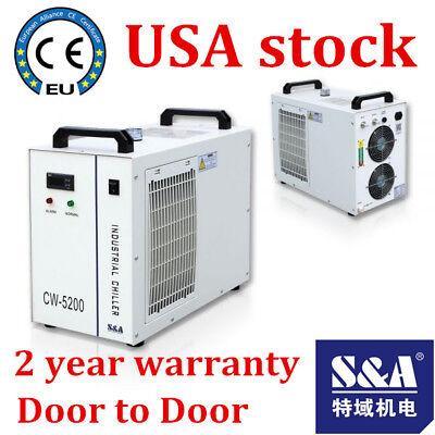 S&A CW-5200DG Industrial Water Chiller for a 130/150W CO2 Glass Laser Tube, 110V