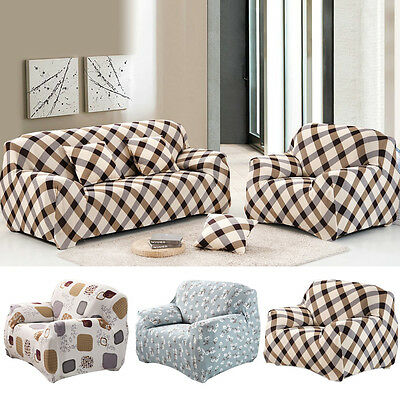 1/2/3 Seater Floral Modern Stretch Sofa Slipcover Protector Soft Couch Cover Fit