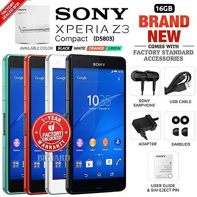 New Factory Unlocked SONY Xperia Z3 Compact D5803 Black White Android Smartphone