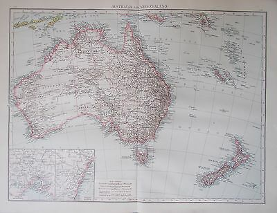 Map of Australia and New Zealand 1895 PACIFIC. Antique