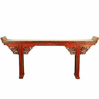 "Antique Chinese Asian 90"" L Red Flange Top Altar Sofa Console Table w Carvings"
