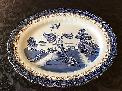 """Suberb Condition Large Booths Real Old Willow Platter A 8025 - Length 18"""""""