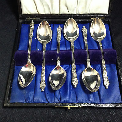 Set Of 6 Vintage Apostle Teaspoons Epns And Boxed