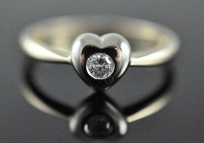 Vintage 14k Yellow and White Gold Heart Ring with .11 ct Diamond