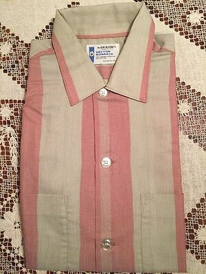 Vtg. Arrow Men's Short Sleeve Decton Monarch Dress Shirt Stripe 15-15 1/2 USA