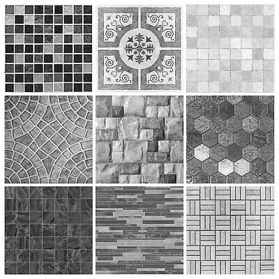 Mosaic Tile Stickers Transfers Kitchen Black Grey Brown Marble Effect - MS2