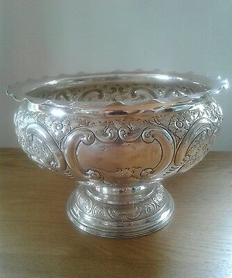 Superb Antique solid sterling silver large punch bowl. Birmingham 1898