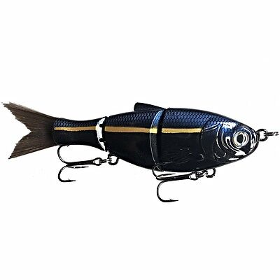 "KDS Custom Slow Sinking Jointed 5"" Multi Section Swimbait - Black Sexy Shad"