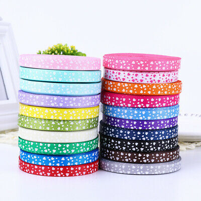 10MM Heart Grosgrain Ribbon Roll 25 100Yards Wedding Party Card Make Gift Crafts