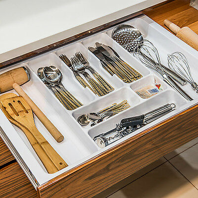 White Cutlery Tray Box Insert Cabinet W:30-90cm Kitchen Drawer Storage Organiser