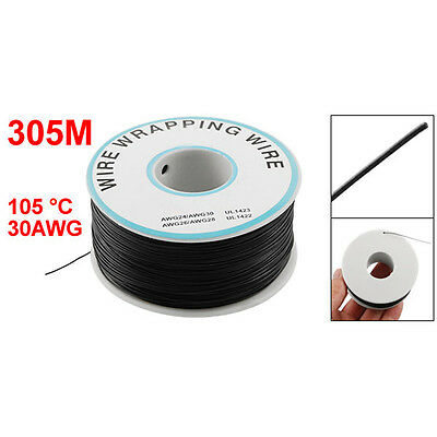 P/N B-30-1000 30AWG Tin Plated Copper Wire Wrepping Cable Reel Black 305M S8W1