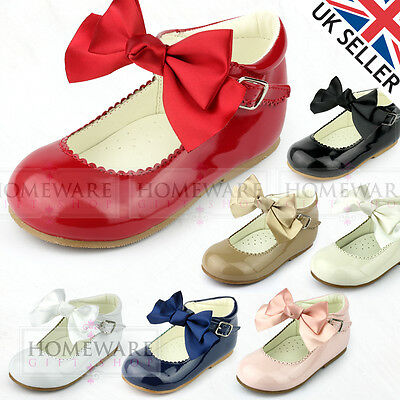 5d1ab8a40bb Girls Babys Spanish Style Bow Shoes Mary Jane Patent Red Pink Camel Black  White