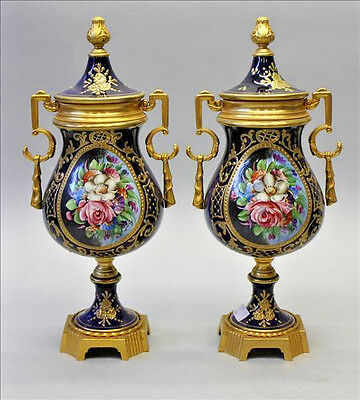 Stunning PAIR French Vases Floral decor in  blue sevres porcelain 1950's