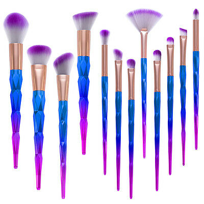 Unicorn Makeup Brushes 12pcs Foundation Cosmetic Mermaid Set Blush Powder Face
