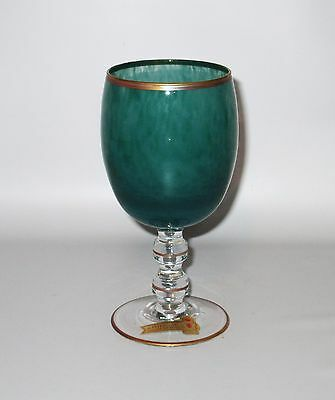 Interglass Italy Green Wine Glass 24 Kt Gold Prince of Florence Label Hand Made