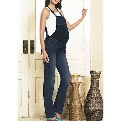 Blue Maternity Straight Cut Overall with Cotton Tummy by Andrea