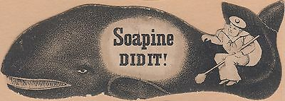 Victorian Trade Card-Soapine-Kendall Mfg Co-Providence RI-Sailor Washing Whale