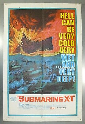 Submarine X-1 -James Caan/David Sumner- Original American One Sheet Movie Poster