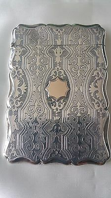 Rare Stunning Antique Nathaniel Mills Sterling Silver Card Case 1855 Birmingham