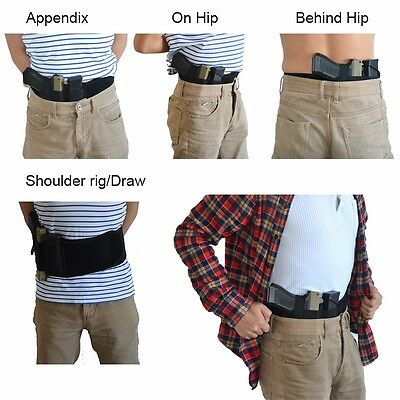 Black Concealed Carry Ultimate Belly Band Pouch Hunting Gun Pistol Holsters HOT