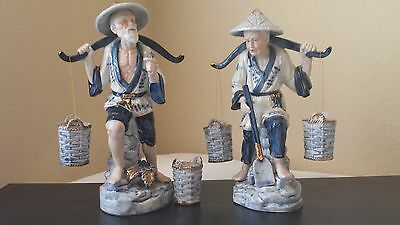 Vintage Japanese Porcelain Figures Pair Carrying Buckets Blue White Figurines